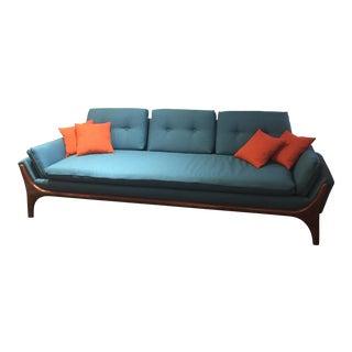 Reupholstered Danish Modern Split Arm Sofa