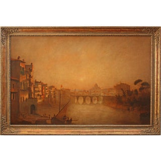 Rome at Sunset 19th Century Oil on Canvas Framed