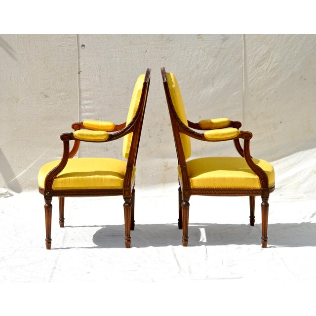 Louis XVI Fruitwood & Yellow Bergeres - A Pair - Image 9 of 10