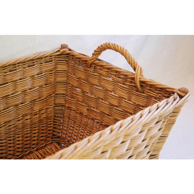 Vintage French Woven Willow Market Basket - Image 4 of 8