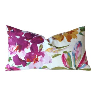 Abstract Fuchsia Orchids 100% Linen Pillow Cover
