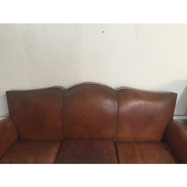 Vintage Leather Mustache Sofa - Image 8 of 9