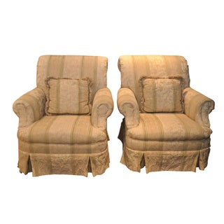 Scroll Back Upholstered Club Chairs - Pair