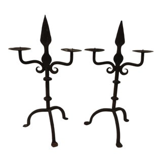 Vintage Rustic Iron Candle Holders - Pair