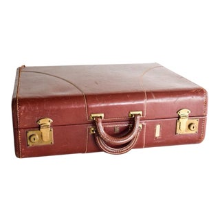 Vintage Hard Case Leather Suitcase with Double Handle
