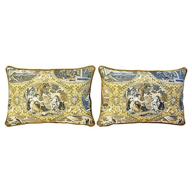 Image of Designer Scalamandre Cupido Toile Pillows - Pair