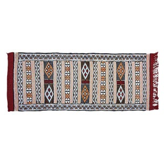 "Blue and Red Moroccan Berber Kilim Rug 1'8""x4'1"""