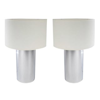 PAIR OF LARGE CHROME CYLINDER LAMPS BY GEORGE KOVACS, CIRCA 1970S
