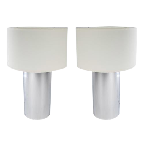 pair of large chrome cylinder lamps by george kovacs circa 1970s
