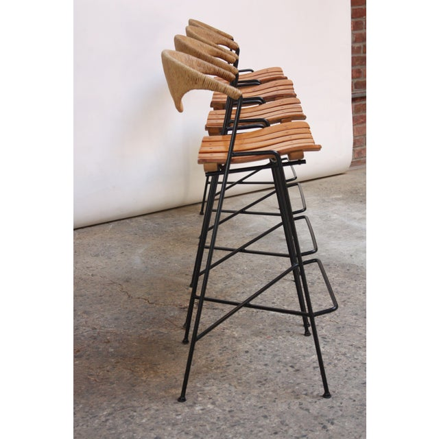 Set of Four Rush and Iron Stools by Arthur Umanoff for Raymor - Image 3 of 11