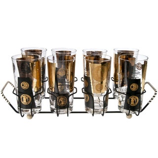 Mid-Century Cera Coin Glasses & Caddy - Set of 8