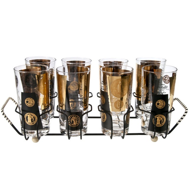 Mid-Century Cera Coin Glasses & Caddy - Set of 8 - Image 1 of 2