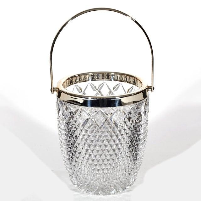 Image of 1960's Diamond-Point Glass Ice Bucket