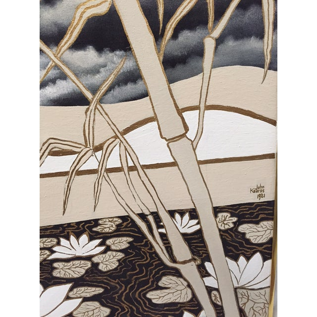 Vintage Abstract Lotus Canvas Art Work - Image 7 of 7