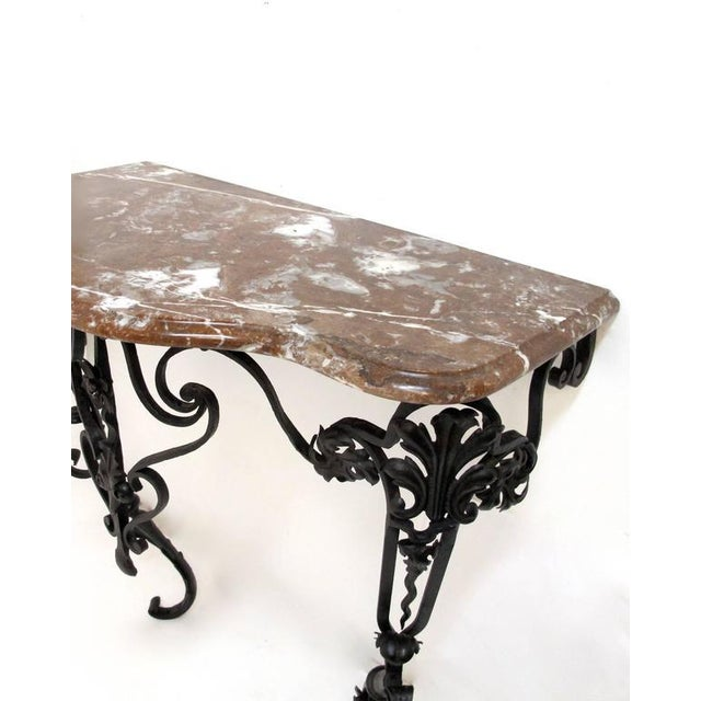 19th Century French Wrought Iron and Marble Console Table - Image 7 of 8