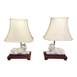 Ceramic Lion and Tiger Lamps - A Pair