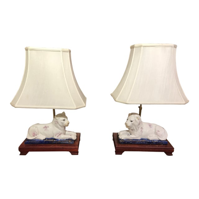 Ceramic Lion and Tiger Lamps - A Pair - Image 1 of 8