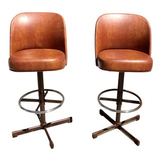 Pair of 1970's Samsonite Leather Barstools