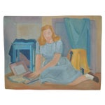 Image of Nancy Larsen Vintage School Girl Painting C.1940's