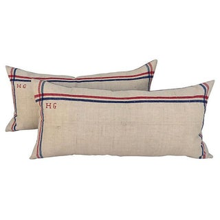French Linen Embroidered Pillows - A Pair