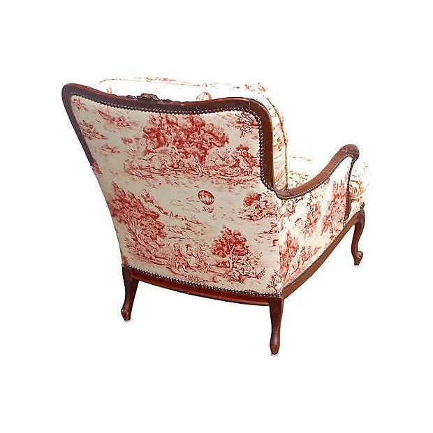 Antique French Toile Fauteuil And Ottoman - Image 3 of 10