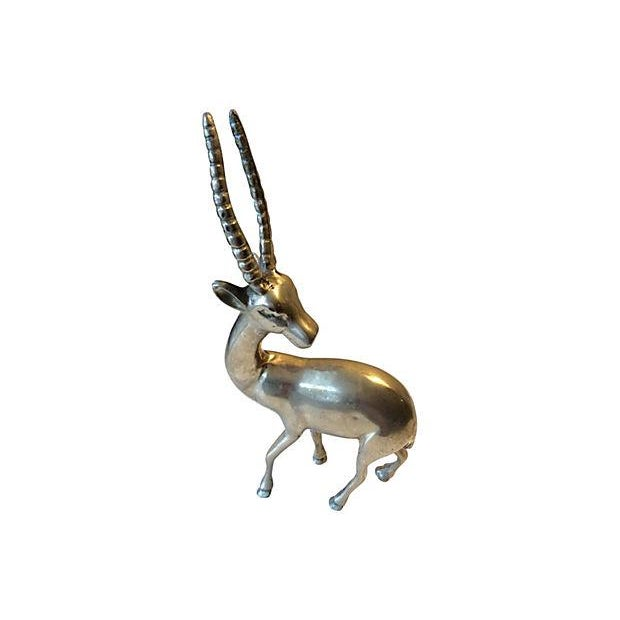 Image of Mid-Century Solid Brass Gazelle