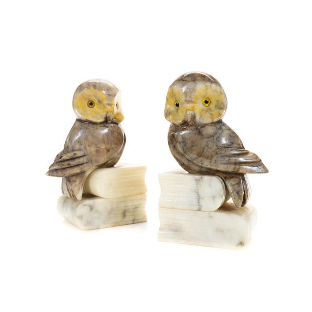 Vintage Alabaster Owl Bookends- A Pair - Image 2 of 9