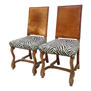 Antique Zebra Carved Walnut & Original Leather Dining Chairs - A Pair