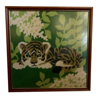 Framed Tiger Needlepoint