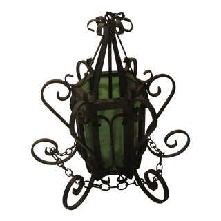 Vintage Wrought Iron With Green Glass Lantern