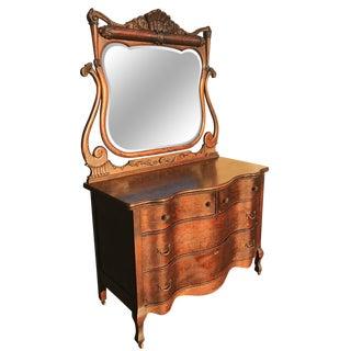 Antique Victorian Serpentine Front Mirrored Dresser