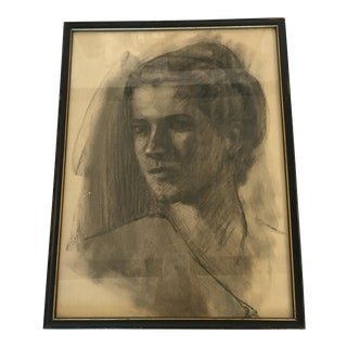 1920s Chalk or Pencil Portrait Sketch