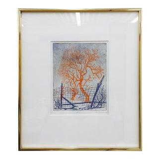 """Framed & Matted """"Broken Fences"""" Orange Trees Print"""