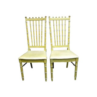 Vintage Thomasville Faux Bamboo Dining Chairs - a Pair Hollywood Regency