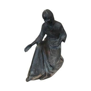 Large Antique Bronze Garden Statue of Kneeling Woman