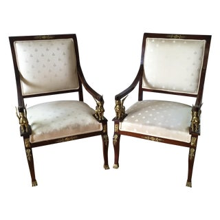 Neoclassical French Brass Chairs - Pair