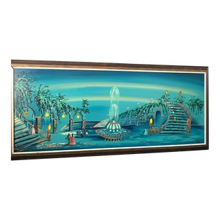 Mid Century Modern Light-Up Oil Painting Signed by Carlo