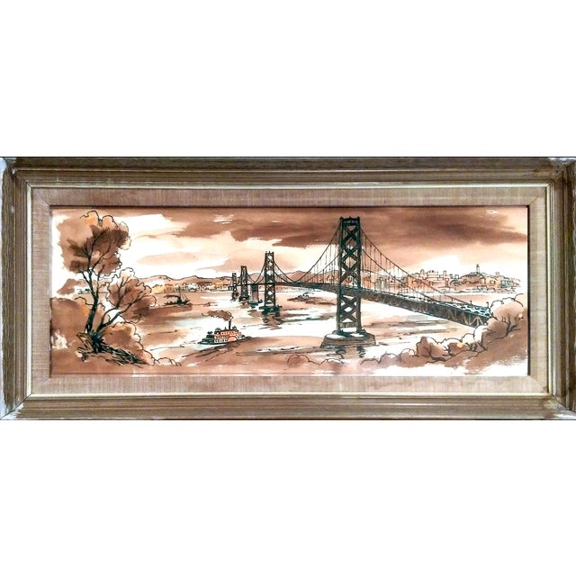 Vintage Golden Gate Bridge Watercolor Painting - Image 1 of 7