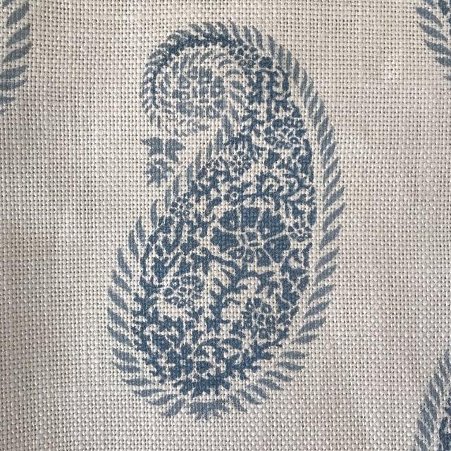 """Peter Fasano """"Chamba"""" Blue on Ivory Paisley Linen Fabric - Image 2 of 3"""