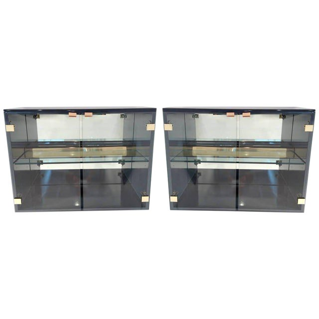 Pair of Milo Baughman for Thayer Coggin Illuminated Lacquered Floating Cabinets - Image 1 of 6