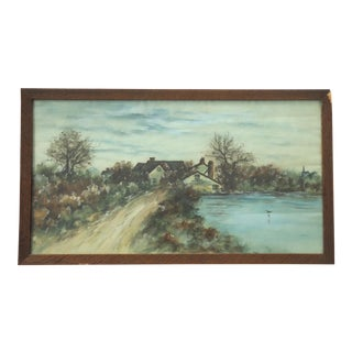 Antique Rural Landscape With Homestead Watercolor Painting