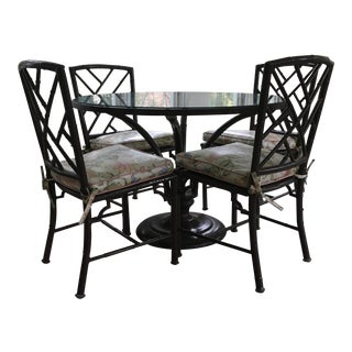 Chippendale Chinoiserie Faux Bamboo Dining Set