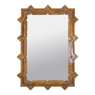 1960s Faux Tortoise Finish Extra Large Brutalist Mirror