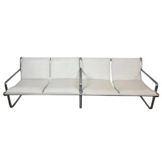 Hannah & Morrison Four-Seat White Leather Airport Sling Sofa