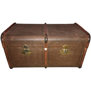 Antique Double Lock European Oak Banded Trunk