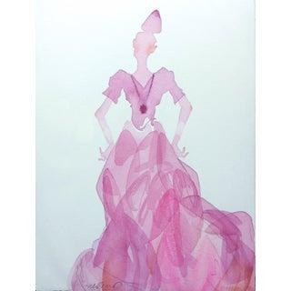 """Steve Klinkel """"Pink Lady 1"""" Watercolor Painting"""