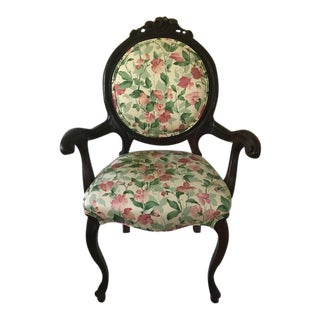 Antique Victorian Floral/Wood Chair