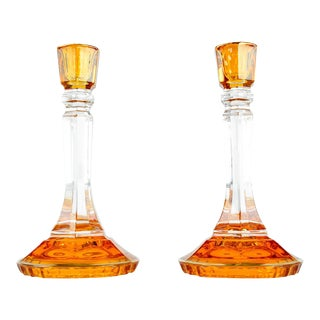 Italian Art Glass Candlesticks - A Pair