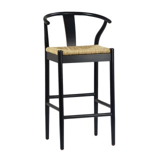 Black Woven Oak Bar Stool