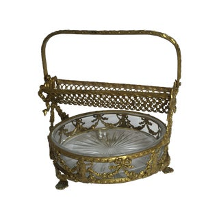 Victorian French Floral Footed Basket